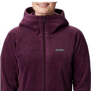 Columbia purple long fleece jacket m